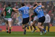 18 September 2016; Lee Keegan of Mayo and Diarmuid Connolly of Dublin, 14, tussle off the ball during the GAA Football All-Ireland Senior Championship Final match between Dublin and Mayo at Croke Park in Dublin. Photo by Piaras Ó Mídheach/Sportsfile