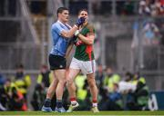 18 September 2016; Lee Keegan of Mayo and Diarmuid Connolly of Dublin in a tussle off the ball during the GAA Football All-Ireland Senior Championship Final match between Dublin and Mayo at Croke Park in Dublin. Photo by Piaras Ó Mídheach/Sportsfile