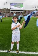 18 September 2016; eir GAA flagbearer Ryan Wickham, age 9, from Dublin, pictured at the All-Ireland Senior Football Final between Dublin and Mayo at Croke Park in Dublin.   Photo by Brendan Moran/Sportsfile