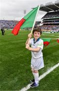 18 September 2016; eir GAA flagbearer Michael Charles, age 10, from Ballina, Co. Mayo, pictured at the All-Ireland Senior Football Final between Dublin and Mayo at Croke Park in Dublin.   Photo by Brendan Moran/Sportsfile
