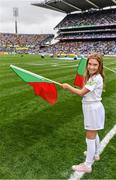 18 September 2016; eir GAA flagbearer Fianna Hickey, age 8, from Waterford, pictured at the All-Ireland Senior Football Final between Dublin and Mayo at Croke Park in Dublin.   Photo by Brendan Moran/Sportsfile