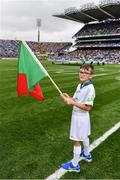 18 September 2016; eir GAA flagbearer Adam Moran, age 9, from Drumcondra, Co. Dublin, pictured at the All-Ireland Senior Football Final between Dublin and Mayo at Croke Park in Dublin.   Photo by Brendan Moran/Sportsfile