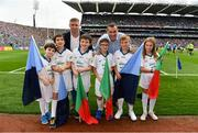 18 September 2016; eir GAA flagbearer, from left, Ryan Shields, from Dublin, Ryan Wickham, from Dublin, Michael Charles, from Ballina, Co. Mayo, Adam Moran, from Drumcondra, Co. Dublin, Brendan O'Connell, from Blackrock, Co. Dublin and Fianna Hickey, from Waterford, pictured with eir GAA ambassadors Ciaran Whelan and Tomás Ó Sé at the All-Ireland Senior Football Final between Dublin and Mayo at Croke Park in Dublin.   Photo by Brendan Moran/Sportsfile