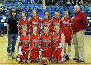 26 January 2011; The Calasanctius College, Oranmore, Galway, team. Basketball Ireland Girls U16A Schools Cup Final, Calasanctius College, Oranmore, Galway v St. Vincents Secondary School, Cork, National Basketball Arena, Tallaght, Dublin. Picture credit: Stephen McCarthy / SPORTSFILE