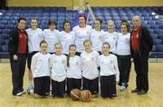 26 January 2011; The St. Vincents Secondary School, Cork, team. Basketball Ireland Girls U16A Schools Cup Final, Calasanctius College, Oranmore, Galway v St. Vincents Secondary School, Cork, National Basketball Arena, Tallaght, Dublin. Picture credit: Stephen McCarthy / SPORTSFILE