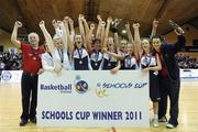 26 January 2011; The St. Vincents Secondary School, Cork, team celebrate with the cup. Basketball Ireland Girls U16A Schools Cup Final, Calasanctius College, Oranmore, Galway v St. Vincents Secondary School, Cork, National Basketball Arena, Tallaght, Dublin. Picture credit: Stephen McCarthy / SPORTSFILE