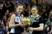 26 January 2011; Megan O'Leary, St. Vincents Secondary School, Cork, is presented with her MVP award by Louise O'Loughlin, Basketball Ireland Schools Officer. Basketball Ireland Girls U16A Schools Cup Final, Calasanctius College, Oranmore, Galway v St. Vincents Secondary School, Cork, National Basketball Arena, Tallaght, Dublin. Picture credit: Stephen McCarthy / SPORTSFILE