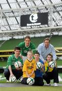 27 January 2011; 3, primary sponsors of the Football Association of Ireland today announced a special €10m fund to aid the grass roots development of Irish football. The programme offers FAI affiliated clubs the chance of earning cash when their members switch to 3, the more people that switch the more money the club earns. To date over 450 clubs have switched at least one member to 3 with Drogheda United topping the table by already securing €900 for the club. In total €53,150 has already been given out to clubs across the country. For more details see www.3football.ie. Pictured at the launch is Republic of Ireland Internatinal Kevin Doyle with 3 CEO Robert Finnegan and future stars, from left, Lee Weafer Joyce, age 18, Cian Tormey, age 8, Luke Cummin, age 11, and Dean Gannon, age 14. Aviva Stadium, Lansdowne Road, Dublin. Picture credit: Stephen McCarthy / SPORTSFILE