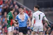 18 September 2016; Diarmuid Connolly of Dublin with a torn jersey after an off the ball incident with Lee Keegan of Mayo exchanges view with Mayo's Keith Higgins, left, and David Clarke during the GAA Football All-Ireland Senior Championship Final match between Dublin and Mayo at Croke Park in Dublin. Photo by Piaras Ó Mídheach/Sportsfile