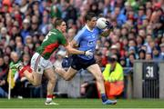 18 September 2016; Diarmuid Connolly of Dublin is tackled by Lee Keegan of Mayo during the GAA Football All-Ireland Senior Championship Final match between Dublin and Mayo at Croke Park in Dublin. Photo by Ramsey Cardy/Sportsfile