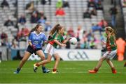 18 September 2016; Sophie Thompson, Scoil Maria Assumpta, Ballyphehane, Cork, representing Mayo, and Sarah Jane Reid, St Joseph's NS, Dundalk, Louth, representing Mayo, in action against Aoife Kelly, Our Lady Queen of the Apostles, Clonburris NS, during the INTO Cumann na mBunscol GAA Respect Exhibition Go Games at the GAA Football All-Ireland Senior Championship Final match between Dublin and Mayo at Croke Park in Dublin. Photo by Ray McManus/Sportsfile