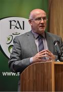 21 September 2016; Fran Gavin, Competition Director, Football Association of Ireland, speaking at the FAI Third Level Season 2016/2017 Launch at FAI HQ, Abbotstown in Dublin. Photo by David Maher/Sportsfile
