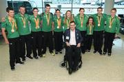 21 September 2016; Paralympic medallists, from left, Eoghan Clifford, Colin Lynch, Eve McCrystal, Michael McKillop, Katie-George Dunlevy, Ellen Keane, Orla Barry, Niamh McCarthy, Jason Smyth and Noelle Lenihan, with Paralympics Ireland President Jimmy Gradwell, centre, at the homecoming from the Rio 2016 Paralympromic Games at Dublin Airport in Dublin. Photo by Cody Glenn/Sportsfile