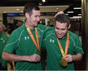 21 September 2016; Michael McKillop, left, who won gold in the Men's 1500m T37 Final, and Jason Smyth, who won gold in the Men's 100m T13 Final, during their homecoming from the Rio 2016 Paralympic Games at Dublin Airport in Dublin. Photo by Cody Glenn/Sportsfile