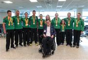 21 September 2016; Paralympics Ireland President Jimmy Gradwell with the Paralympic medallists, from left, Eoghan Clifford, Colin Lynch, Eve McCrystal, Michael McKillop, Katie-George Dunlevy, Ellen Keane, Orla Barry, Niamh McCarthy, Jason Smyth and Noelle Lenihan at the homecoming from the Rio 2016 Paralympic Games at Dublin Airport in Dublin. Photo by Matt Browne/Sportsfile