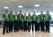 21 September 2016; Paralympic medallists, from left, Eoghan Clifford, Colin Lynch, Eve McCrystal, Michael McKillop, Katie-George Dunlevy, Ellen Keane, Orla Barry, Niamh McCarthy, Jason Smyth and Noelle Lenihan at the homecoming from the Rio 2016 Paralympic Games at Dublin Airport in Dublin. Photo by Matt Browne/Sportsfile