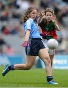 18 September 2016; Aoife Kelly, Our Lady Queen of the Apostles, Clonburris NS, in action against Laura Casey, St Manachans NS, Mohill, Leitrim, representing Mayo, during the INTO Cumann na mBunscol GAA Respect Exhibition Go Games at the GAA Football All-Ireland Senior Championship Final match between Dublin and Mayo at Croke Park in Dublin. Photo by Eóin Noonan/Sportsfile
