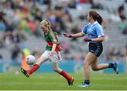 18 September 2016; Nadine Hargadon, Cloghogue NS, Castlebaldwin, Sligo, reresenting Mayo in action against Aoife Kelly, Our Lady Queen of the Apostles, Clonburris NS, during the INTO Cumann na mBunscol GAA Respect Exhibition Go Games at the GAA Football All-Ireland Senior Championship Final match between Dublin and Mayo at Croke Park in Dublin. Photo by Eóin Noonan/Sportsfile