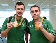 21 September 2016; Michael McKillop and Jason Smyth with their gold medals at the homecoming from the Rio 2016 Paralympic Games at Dublin Airport in Dublin. Photo by Matt Browne/Sportsfile