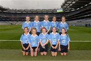 18 September 2016; The Dublin team, back row, left to right, Liane Mulgrew, St Mary's PS, Cabragh, Tyrone, Shauna Parker, Ballymacarbry NS, Ballymacarbry, Waterford, Coragh Leenon, Latton NS, Castleblayney, Monaghan, Aoife Kelly, Our Lady Queen of the Apostles, Clonburris NS, Dublin, Saoirse Kiernan, Ballynarry NS, Kilnaleck, Cavan, front row, left to right, Keelan Murphy, St Naile's PS, Kinawley, Fermanagh, Jess Gleeson, Moyglass, Fethard, Tipperary, Kelci Ronayne, Our Lady's Grove Primary School, Goatstown, Dublin, Rachel O'Brien, Newtown Dunleckney, Bagenalstown, Carlow, Clodagh Whelan, Scoil Naomh Bride, Enniscorthy, Wexford, ahead of the GAA Football All-Ireland Senior Championship Final match between Dublin and Mayo at Croke Park in Dublin. Photo by Daire Brennan/Sportsfile