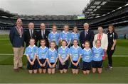 18 September 2016; Vice President of the INTO John Boyle, Mini-Sevens Coordinator Gerry O'Meara, President of Cumann na mBunscol Liam McGee, Uachtarán Chumann Lúthchleas Gaeil Aogán Ó Fearghail, INTO President Rosena Jordan, with the Dublin team, back row, left to right, Shauna Parker, Ballymacarbry NS, Ballymacarbry, Waterford, Coragh Leenon, Latton NS, Castleblayney, Monaghan, Aoife Kelly, Our Lady Queen of the Apostles, Clonburris NS, Dublin, front row, left to right, Liane Mulgrew, St Mary's PS, Cabragh, Tyrone, Keelan Murphy, St Naile's PS, Kinawley, Fermanagh, Jess Gleeson, Moyglass, Fethard, Tipperary, Kelci Ronayne, Our Lady's Grove Primary School, Goatstown, Dublin, Rachel O'Brien, Newtown Dunleckney, Bagenalstown, Carlow, Clodagh Whelan, Scoil Naomh Bride, Enniscorthy, Wexford, Saoirse Kiernan, Ballynarry NS, Kilnaleck, Cavan, ahead of the GAA Football All-Ireland Senior Championship Final match between Dublin and Mayo at Croke Park in Dublin. Photo by Daire Brennan/Sportsfile