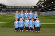 18 September 2016; The Dublin team, back row, left to right, Darragh O'Dowd, Baile Eóin BNS, Dún Laoghaire, Dublin, Cian Cunningham, Carrick PS, Burren, Down, Tom Coleman, Two Mile House NS, Naas, Kildare, Oisín Hooney, Ballyadams NS, Ballyadams, Laois, Oisín Rooney, Drimnagh Castle, Walkinstown, Dublin, front row, left to right, Odhran Harbinson, St Patrick's PS, Derrygonnelly, Fermanagh, Eóin McElholm, St Teresa's PS, Loughmacrory, Omagh, Tyrone, Evan O'Leary, Lisnagry NS, Lisnagry, Limerick, Cillian Hackett, St Canices Co Ed, Granges Road, Kilkenny, Donal Sheehan, Glenville NS, Glenville, Cork, ahead of the GAA Football All-Ireland Senior Championship Final match between Dublin and Mayo at Croke Park in Dublin. Photo by Daire Brennan/Sportsfile