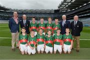 18 September 2016; Vice President of the INTO John Boyle, President of Cumann na mBunscol Liam McGee, Uachtarán Chumann Lúthchleas Gaeil Aogán Ó Fearghail, and Mini-Sevens Coordinator Gerry O'Meara, with the Mayo team, back row, left to right, Dara Ryan, St Mochulla's NS, Tulla, Clare, Luke McGlynn, Coimin NS, Cloghan, Donegal, Niall Maughan, Crossmolina NS, Crossmolina, Mayo, Liam Leen, Scoil Mhuire, Clarinbridge, Galway,, front row, left to right, Miceal Marmion, Clogoghe PS, Newry, Co Down, James Wilson, Oliver Plunkett PS, Glen Road, Belfast, Antrim, Anthony Troy, Ballinamere NS, Tullamore, Offaly, Shane McKeon, St Patrick's NS, Drumshambo, Leitrim, Toby Lee Curran, St Ernans BNS, Rathnew, Wicklow, Dara O'Callaghan, Kilcummin, Killarney, Kerry, ahead of the GAA Football All-Ireland Senior Championship Final match between Dublin and Mayo at Croke Park in Dublin. Photo by Daire Brennan/Sportsfile