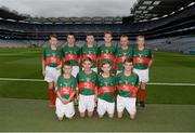 18 September 2016; The Mayo team, back row, left to right, Micheal Marmion, Clogoghe PS, Newry, Co Down, Dara Ryan, St Mochulla's NS, Tulla, Clare, Luke McGlynn, Coimin NS, Cloghan, Donegal, Niall Maughan, Crossmolina NS, Crossmolina, Mayo, Liam Leen, Scoil Mhuire, Clarinbridge, Galway, Dara O'Callaghan, Kilcummin, Killarney, Kerry, front row, left to right, James Wilson, Oliver Plunkett PS, Glen Road, Belfast, Antrim, Anthony Troy, Ballinamere NS, Tullamore, Offaly, Shane McKeon, St Patrick's NS, Drumshambo, Leitrim, Toby Lee Curran, St Ernans BNS, Rathnew, Wicklow, ahead of the GAA Football All-Ireland Senior Championship Final match between Dublin and Mayo at Croke Park in Dublin. Photo by Daire Brennan/Sportsfile