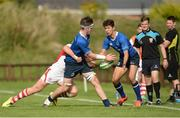 17 September 2016; Ruadhan Byron of Leinster giving a pass to Sam Barry during the U18 Schools Interprovincial Series Round 3 between Ulster and Leinster at Methodist College, Belfast.   Photo by Oliver McVeigh/Sportsfile