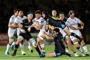 23 September 2016; Sean Reidy, centre, of Ulster is tackled by Alex Dunbar, bottom, and Finn Russell of Glasgow Warriors during the Guinness PRO12 Round 4 match between Glasgow Warriors and Ulster at Scotstoun Stadium in Glasgow. Photo by Paul Devlin/Sportsfile