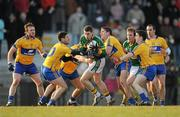 29 January 2011; Paul Geaney, Kerry, supported by team-mate Donnchadh Walsh, is surrounded by Clare players, from left, John Hayes, Diarmuid Daly, Niall White, Gordon Kelly, Martin McMahon and Rory Donnelly. McGrath Cup Final, Kerry v Clare, Dr. Crokes GAA Club, Lewis Road, Killarney, Co. Kerry. Picture credit: Stephen McCarthy / SPORTSFILE