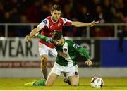 24 September 2016; Sean Maguire of Cork City  in action against John Russell of Sligo Rovers during the SSE Airtricity League Premier Division game between Sligo Rovers and Cork City at the Showgrounds in Sligo. Photo by Oliver McVeigh/Sportsfile