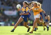 25 September 2016; Michelle Farrell of Longford in action against Áine Tubridy of Antrim during the TG4 Ladies Football All-Ireland Junior Football Championship Final match between Antrim and Longford at Croke Park in Dublin.  Photo by Brendan Moran/Sportsfile