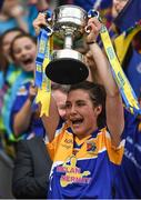 25 September 2016; Longford captain Mairéad Reynolds lifts the cup after the TG4 Ladies Football All-Ireland Junior Football Championship Final match between Antrim and Longford at Croke Park in Dublin.  Photo by Brendan Moran/Sportsfile