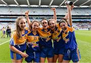 25 September 2016; Longford players, from left, Michelle Farrell, Aoife Darcy, Claire Farrell, Aisling Reynolds and Emer Heaney celebrate after the TG4 Ladies Football All-Ireland Junior Football Championship Final match between Antrim and Longford at Croke Park in Dublin. Photo by Piaras Ó Mídheach/Sportsfile