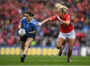 25 September 2016; Sinéad Aherne of Dublin in action against Bríd Stack of Cork during the Ladies Football All-Ireland Senior Football Championship Final match between Cork and Dublin at Croke Park in Dublin. Photo by Brendan Moran/Sportsfile