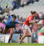 25 September 2016; Rena Buckley of Cork in action against Molly Lamb of Dublin during the Ladies Football All-Ireland Senior Football Championship Final match between Cork and Dublin at Croke Park in Dublin.  Photo by Seb Daly/Sportsfile