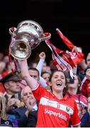 25 September 2016; Captain Ciara O'Sullivan of Cork lift the cup following her side's victory after the Ladies Football All-Ireland Senior Football Championship Final match between Cork and Dublin at Croke Park in Dublin.  Photo by Seb Daly/Sportsfile