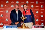 26 September 2016; Europe team captain Darren Clarke, left, and USA captain Davis Love III ahead of The 2016 Ryder Cup Matches at the Hazeltine National Golf Club in Chaska, Minnesota, USA. Photo by Ramsey Cardy/Sportsfile