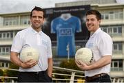 27 September 2016; Former Dublin footballer Ger Brennan, left, and former Mayo footballer Enda Varley crossed swords at AIG Insurance's offices today as AIG offered Dublin supporters the chance to take advantage of discounted insurance which could save them up to 15% on car and home policies. Call 1890 50 27 27 or log on to www.aig.ie/dubs to get a quote. AIG Offices, North Wall Quay & Samuel Beckett Bridge, Dublin. Photo by Paul Mohan/Sportsfile
