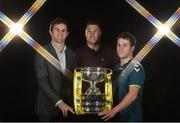 "27 September 2016; At the launch of Aviva's sponsorship of the FAI Junior Cup for the 2016/2017 season are, from left, former Republic of Ireland international Kevin Kilbane, Brian Gartland of Dundalk FC and Adam McGuirk of Sheriff Youth Club, holders of the FAI Junior Cup. This is Aviva's 5th year sponsoring the FAI Junior Cup, the largest amateur football competition in Europe with over 600 teams beginning on the #RoadToAviva this weekend. Aviva's sponsorship ensures the Final will be played at the Aviva Stadium next May while they have also launched the ""Put Your Name on It"" campaign which encourages clubs to put their name on the competition in different ways to be in with a chance to secure unique prizes for their clubs including High Performance Training Sessions and Training & Match Video Analysis. For more information log on to www.aviva.ie/faijuniorcup #RoadToAviva. Aviva Stadium in Dublin. Photo by Brendan Moran/Sportsfile"