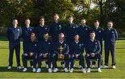 27 September 2016; The Europe team, back row, from left to right, Sergio Garcia, Danny Willett, Rafa Cabrera Bello, Chris Wood, Thomas Pieters, Martin Kaymer, Matthew Fitzpatrick and Andy Sullivan. Front row, from left to right, Henrik Stenson, Lee Westwood, captain Darren Clarke, Rory McIlroy, Justin Rose during the team photocalls at The 2016 Ryder Cup Matches at the Hazeltine National Golf Club in Chaska, Minnesota, USA. Photo by Ramsey Cardy/Sportsfile