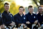 27 September 2016; Rory McIlroy, centre, Martin Kaymer, left, and Matthew Fitzpatrick of Europe during the team photocalls at The 2016 Ryder Cup Matches at the Hazeltine National Golf Club in Chaska, Minnesota, USA. Photo by Ramsey Cardy/Sportsfile
