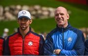27 September 2016; Former Ireland and Munster rugby captain Paul O'Connell and 23 time Olympic Gold medalist Michael Phelps, left, before their round of the Celebrity Matches at The 2016 Ryder Cup Matches at the Hazeltine National Golf Club in Chaska, Minnesota, USA. Photo by Ramsey Cardy/Sportsfile
