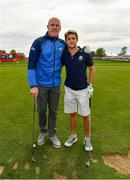 27 September 2016; Former Ireland and Munster rugby captain Paul O'Connell, left, with One Direction singer Niall Horan before their round of the Celebrity Matches at The 2016 Ryder Cup Matches at the Hazeltine National Golf Club in Chaska, Minnesota, USA. Photo by Ramsey Cardy/Sportsfile