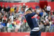27 September 2016; 23 time Olympic Gold medalist Michael Phelps drives from the 1st tee box during the Celebrity Matches at The 2016 Ryder Cup Matches at the Hazeltine National Golf Club in Chaska, Minnesota, USA. Photo by Ramsey Cardy/Sportsfile