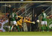 27 September 2016;  Killian Cantwell of Galway United beats Cork City goalkeeper Mark McNulty to score his sides first goal during the SSE Airtricity League Premier Division match between Cork City and Galway United at Turners Cross in Cork. Photo by David Maher/Sportsfile