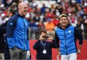 27 September 2016; Former Ireland and Munster rugby captain Paul O'Connell and One Direction singer Niall Horan on the 1st tee box before their round of the Celebrity Matches at The 2016 Ryder Cup Matches at the Hazeltine National Golf Club in Chaska, Minnesota, USA. Photo by Ramsey Cardy/Sportsfile