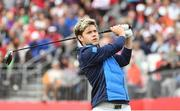 27 September 2016; One Direction singer Niall Horan watches his drive from the 1st tee box before their round of the Celebrity Matches at The 2016 Ryder Cup Matches at the Hazeltine National Golf Club in Chaska, Minnesota, USA. Photo by Ramsey Cardy/Sportsfile