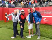 27 September 2016; On the 1st tee box, from left, actor Bill Murray, singer Huey Lewis, One Direction singer Niall Horan and former Ireland and Munster rugby captain Paul O'Connell before their round of the Celebrity Matches at The 2016 Ryder Cup Matches at the Hazeltine National Golf Club in Chaska, Minnesota, USA. Photo by Ramsey Cardy/Sportsfile